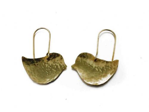 Hammered Brass Lovebird Earrings